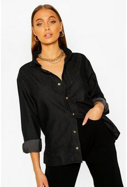 Black Oversized Chambray Shirt