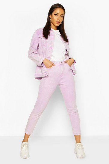Lilac High Rise Acid Wash Mom Jean
