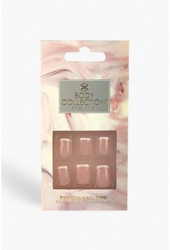 Natural Square French Glitter False Nails