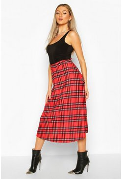Red Tartan Check Plisse Midi Skater Skirt