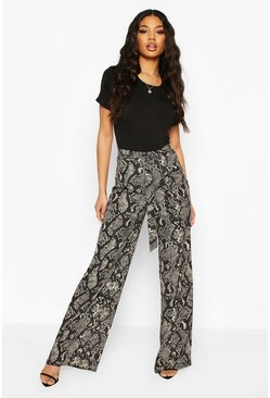 Black Snake Print Wide Leg Tie Waist Trousers