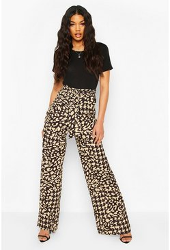 Black Mixed Leopard Wide Leg Tie Waist Trousers