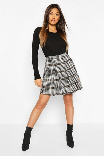 Black Jacquard Check Box Pleat Skater Skirt