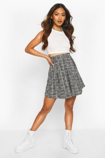 Black Boucle Box Pleat Skater Skirt
