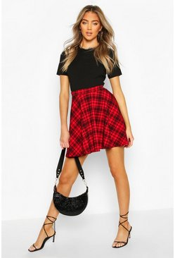 Red Tartan Check Fit & Flare Skater Skirt