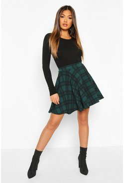 Bottle Tartan Check Fit & Flare Skater Skirt