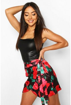 Black Floral Wrap Front Satin Mini Skirt