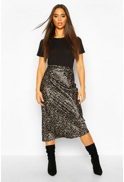 Black Polka Dot Bias Slip Skirt