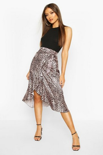 Black Animal Print Wrap Front Midi Skirt