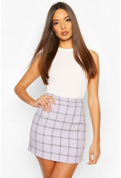 Lilac Checked A Line Mini Skirt