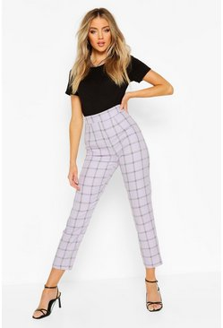 Lilac Tonal Check Slim Fit Pants