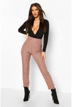 Sand Dogtooth Check Slim Fit Trousers