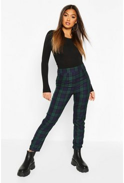 Green Tartan Check Slim Fit Trousers