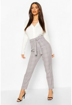 Black Tie Waist Mini Dogtooth Slim Fit Trouser