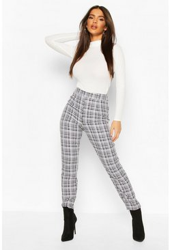 Black Mono Check Ankle Grazer Trousers