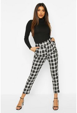 Black Mono Check Slim Fit Trousers