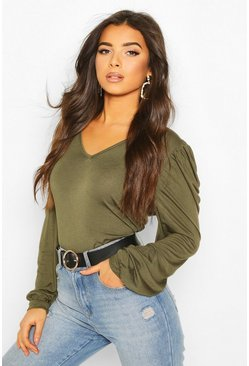 Khaki Puff Sleeve V Neck Swing Top