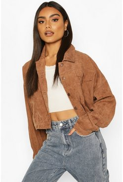 Tan Light Weight Cord Boxy Jacket