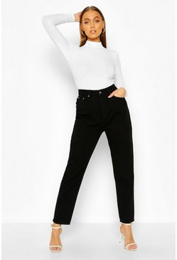 Washed black High Rise Mom Jean