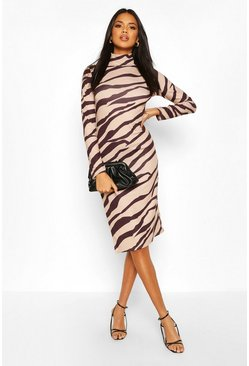 Brown Zebra Print Midi Side Split Dress