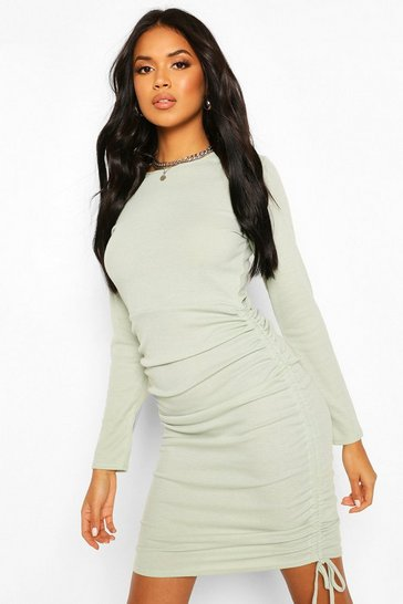 Sage Ruched Side Ribbed Mini Dress