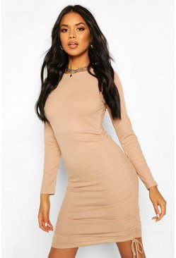 Ruched Side Ribbed Mini Dress, Stone