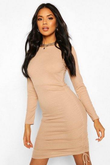 Stone Ruched Side Ribbed Mini Dress