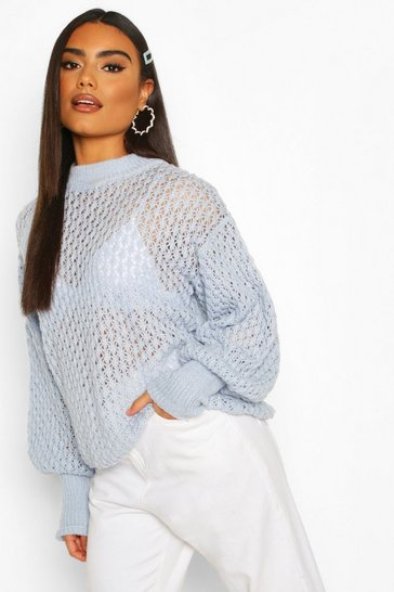 Baby blue Oversized Balloon Sleeve Panelled Knit