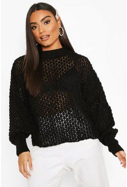 Black Oversized Balloon Sleeve Panelled Knit