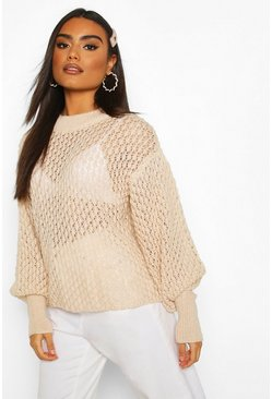 Cream Oversized Balloon Sleeve Panelled Knit