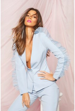Blue Occasion Organza Frill Double Breasted Blazer