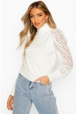 Cream Turtle Neck Knitted Lace Top