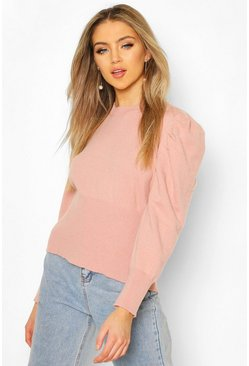 Blush Volume Sleeve Knit Jumper