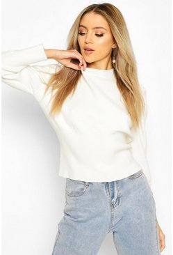 Cream Volume Sleeve Knit Jumper