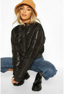Black Pocket Front Buckle Detail Bomber Jacket