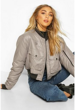 Grey Pocket Front Buckle Detail Bomber Jacket