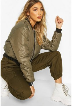 Khaki Zip Through Cropped Bomber Jacket