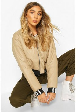 Stone Zip Through Cropped Bomber Jacket