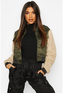Khaki Teddy Faux Fur Sleeve Pocket Detail Bomber Jacket