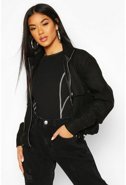 Black Faux Suede Pocket Detail Bomber Jacket