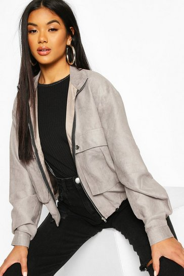 Grey Faux Suede Pocket Detail Bomber Jacket