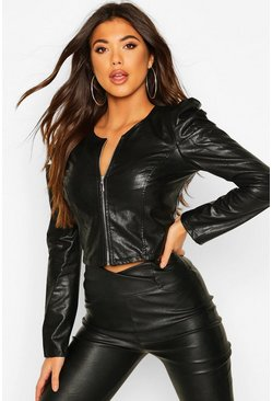 Black Pu Puff Sleeve Jacket