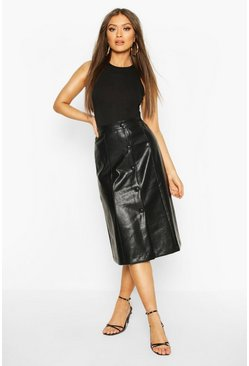 Black Leather Look Self Fabric A Line Midi Skirt