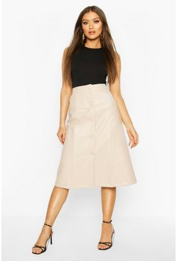 Ecru Leather Look Self Fabric A Line Midi Skirt
