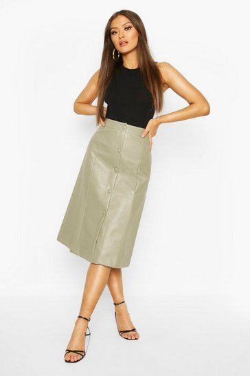 Sage Leather Look Self Fabric A Line Midi Skirt