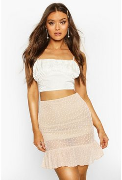 Stone Polka Dot Frill Hem Mini Skirt