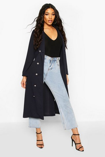 Navy Double Breasted Duster Coat With Tie Waist