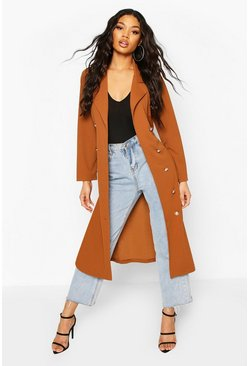 Tan Double Breasted Duster Coat With Tie Waist
