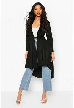 Black Faux Suede Duster Coat With Tie Waist