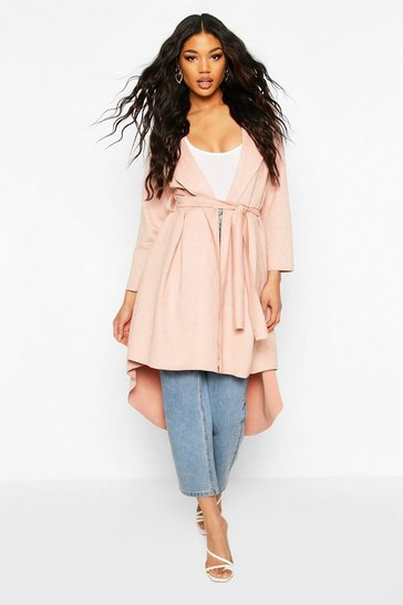Pink Faux Suede Duster Coat With Tie Waist